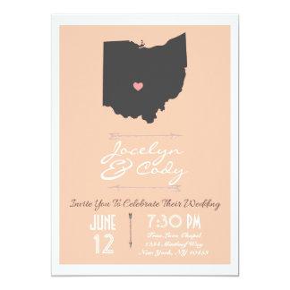 Elegant Peach Ohio State Wedding Invitation