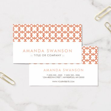 Professional Business Elegant Peach Pattern Business Card