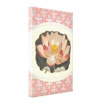 Elegant Peach Pink Lotus Blossom Zen Yoga Damask Canvas Print