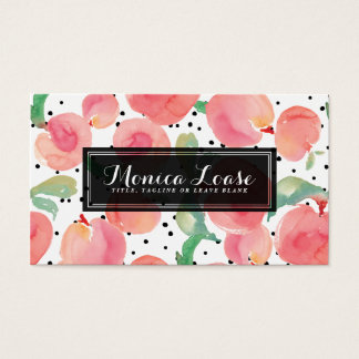 Elegant Peach Preppy Personalized Business Card