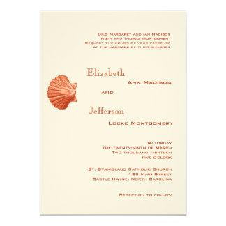 Elegant Peach Rattan Seashell Wedding Invitation