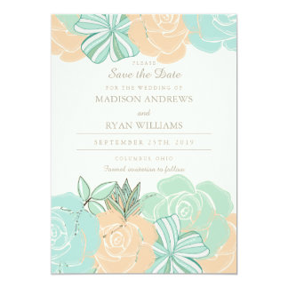 Elegant Peach Roses Mint Floral Save the Date Announcements