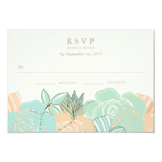 Elegant Peach Roses Mint Floral Wedding RSVP 3.5x5 Paper Invitation Card