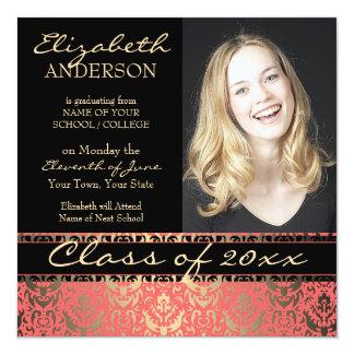 "Elegant Peach Shimmer Damask Graduation 5.25"" Square Invitation Card"