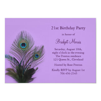 Elegant Peacock 21st Birthday Invitation