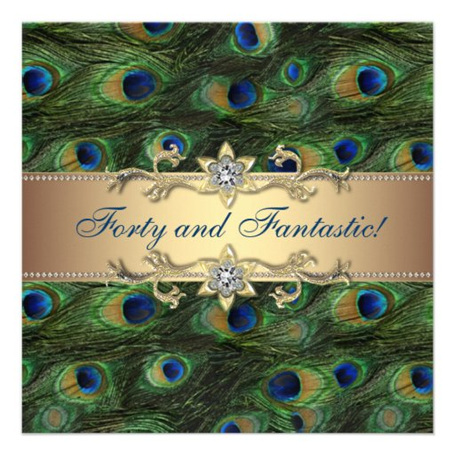 Elegant Peacock 40th Birthday Party Personalized Invitation