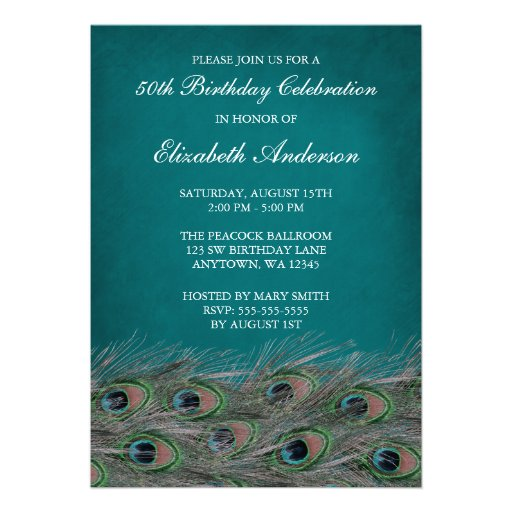 elegant peacock 50th birthday party invitations - Elegant Party Invitations