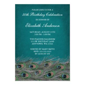 Elegant Peacock 50th Birthday Party Invitations