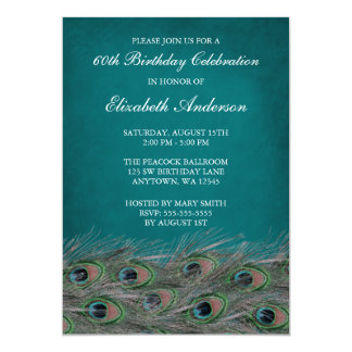Elegant Peacock 60th Birthday Party Invitations