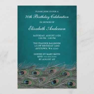 Elegant Peacock 70th Birthday Party Invitations