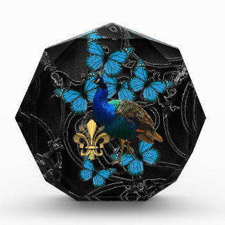 Elegant Peacock and blue butterflies on black Acrylic Award