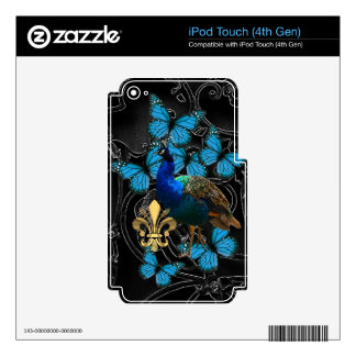 Elegant Peacock and blue butterflies on black iPod Touch 4G Skin