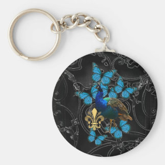 Elegant Peacock and blue butterflies on black Keychain