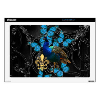 Elegant Peacock and blue butterflies on black Laptop Decal