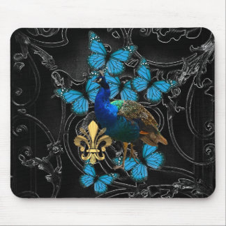 Elegant Peacock and blue butterflies on black Mouse Pad
