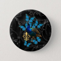 Elegant Peacock and blue butterflies on black Pinback Button