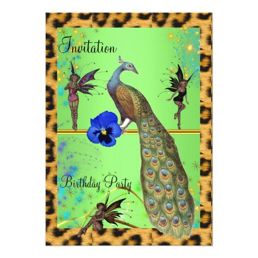 Elegant Peacock and Fairies Cards