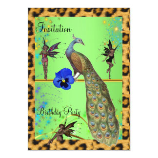 Elegant Peacock and Fairies 5x7 Paper Invitation Card