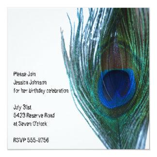 Elegant Peacock Birthday 5.25x5.25 Square Paper Invitation Card