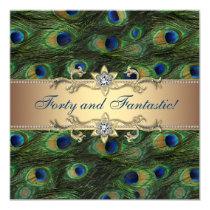 Elegant Peacock Birthday Party Card