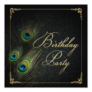 Elegant Peacock Birthday Party 5.25x5.25 Square Paper Invitation Card