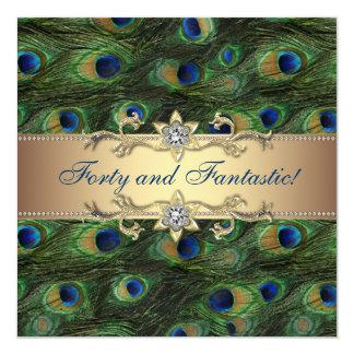 Elegant Peacock Birthday Party Personalized Invitation