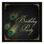 Elegant Peacock Birthday Party Invitations