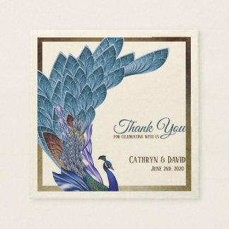 Elegant Peacock Blue & Gold Foil Custom Napkin