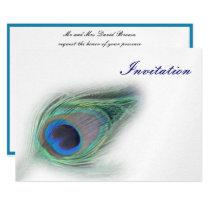 elegant peacock blue wedding invitation
