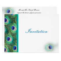 elegant peacock blue wedding invitation