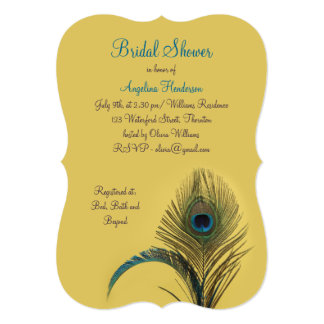 Elegant Peacock Bridal Shower (yellow) Card