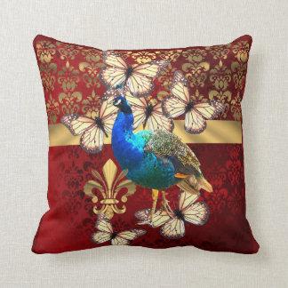 Elegant peacock, butterflies & red damask pillow