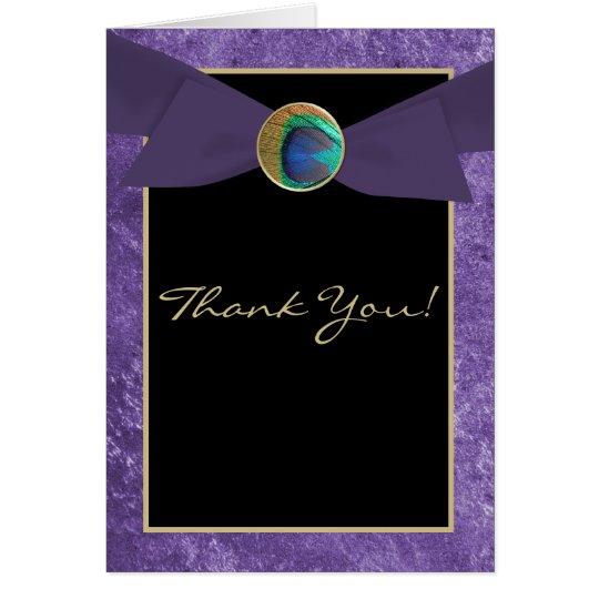 Elegant Peacock Button & Bow Thank You Card