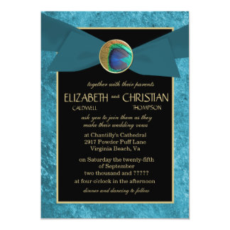 Elegant Peacock Button & Bow Wedding Invitations