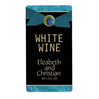 Elegant Peacock Button & Bow Wedding Wine Labels