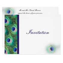 elegant peacock cobalt blue wedding invitation