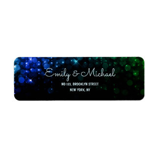 Elegant peacock color bokeh retrun address labels