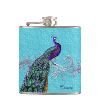 Elegant Peacock Custom Flask