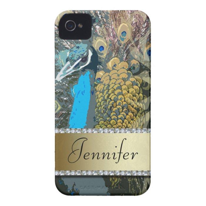 Elegant Peacock Design Faux Jewels iPhone Case