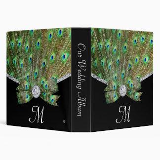 Elegant Peacock & DIamonds Wedding 3 Ring Binder