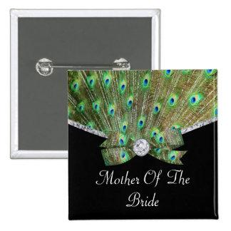 Elegant Peacock & DIamonds Wedding Buttons