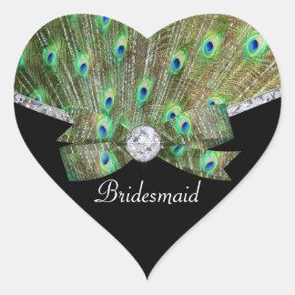 Elegant Peacock & DIamonds Wedding Heart Sticker