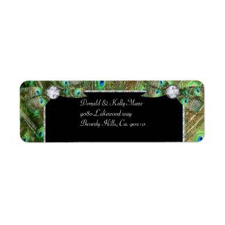 Elegant Peacock & DIamonds Wedding Return Address Label