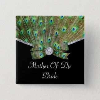 Elegant Peacock & DIamonds Wedding Pinback Button
