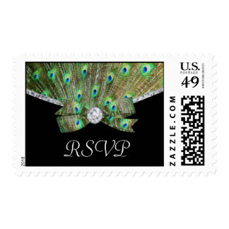 Elegant Peacock & DIamonds Wedding Postage Stamps