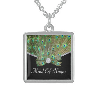 Elegant Peacock & DIamonds Wedding Sterling Silver Necklace