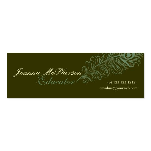 Elegant Peacock Feather Business Card