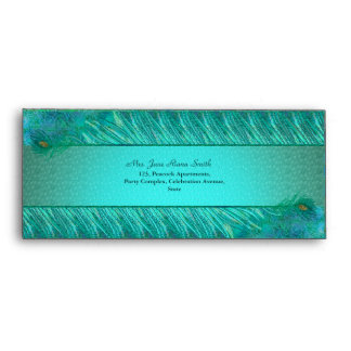 Elegant peacock feather frame  #10 envelopes