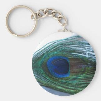 Elegant Peacock Feather Keychain
