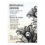 "Elegant Peacock Feather Rehearsal Dinner 5"" X 7"" Invitation Card"